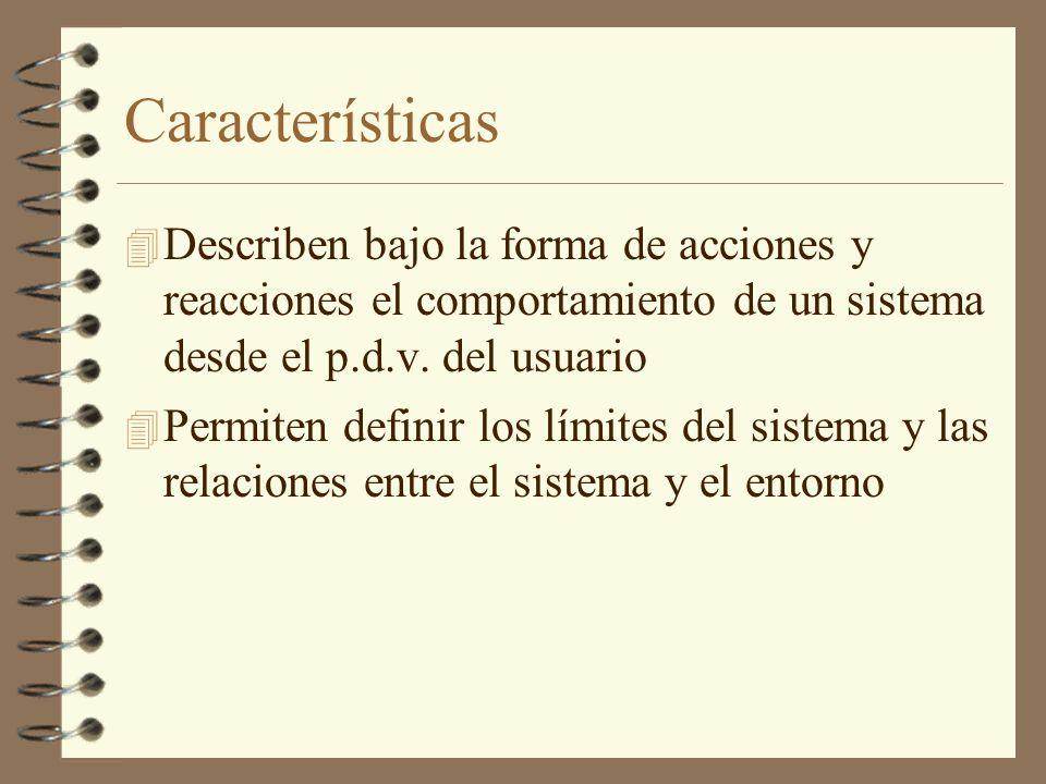 Características 4 Describen bajo la forma de acciones y reacciones el comportamiento de un sistema desde el p.d.v. del usuario 4 Permiten definir los