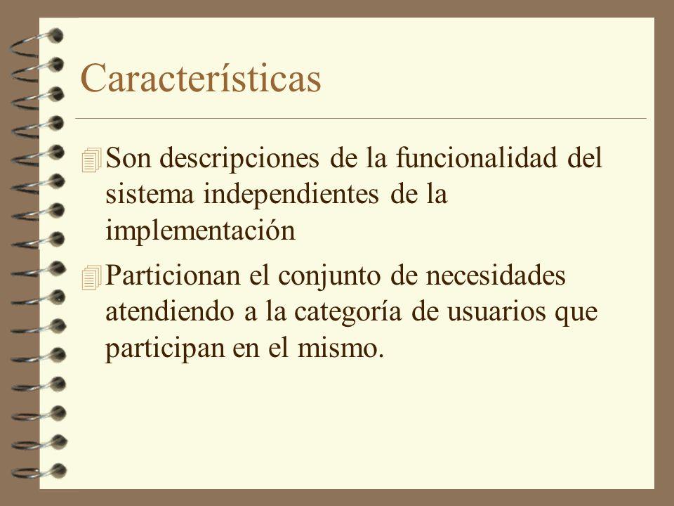 Características 4 Son descripciones de la funcionalidad del sistema independientes de la implementación 4 Particionan el conjunto de necesidades atend