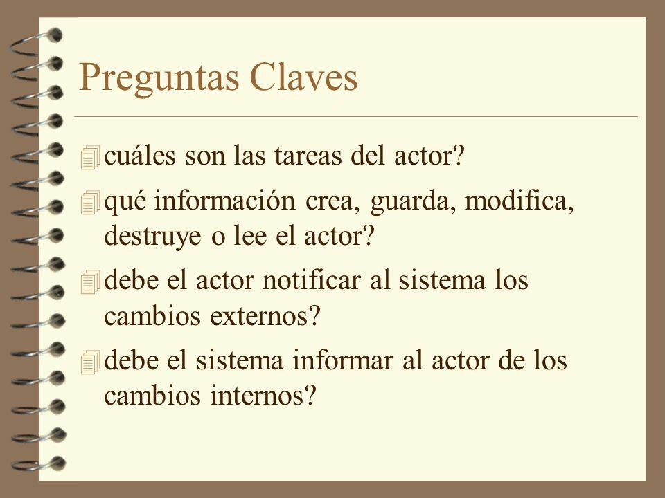 Preguntas Claves 4 cuáles son las tareas del actor? 4 qué información crea, guarda, modifica, destruye o lee el actor? 4 debe el actor notificar al si