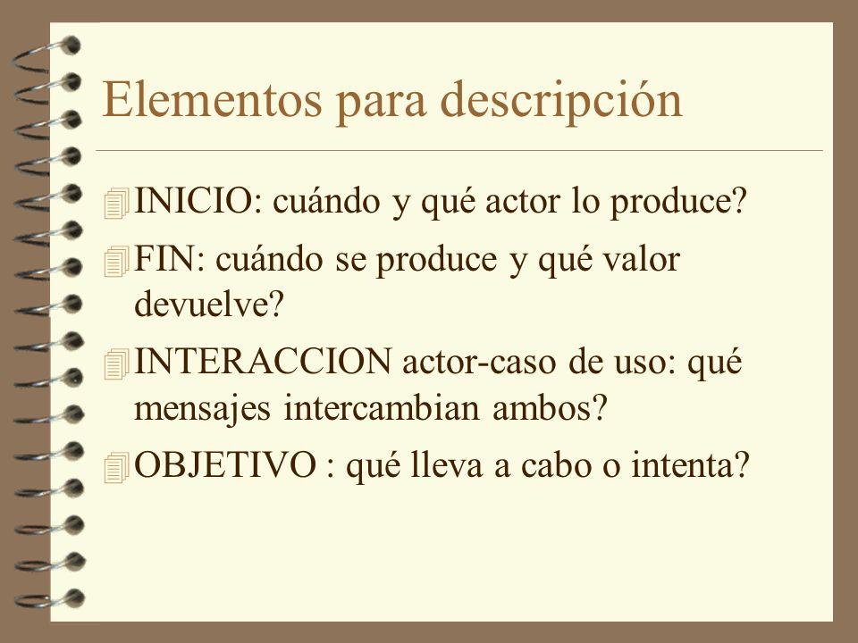 Elementos para descripción 4 INICIO: cuándo y qué actor lo produce? 4 FIN: cuándo se produce y qué valor devuelve? 4 INTERACCION actor-caso de uso: qu