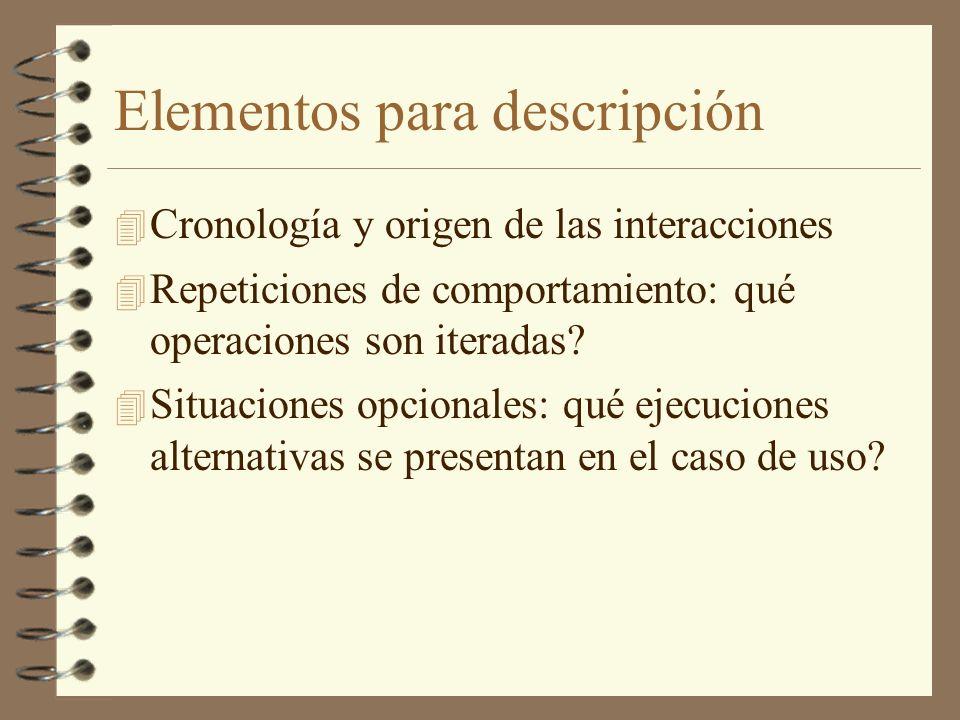 Elementos para descripción 4 Cronología y origen de las interacciones 4 Repeticiones de comportamiento: qué operaciones son iteradas? 4 Situaciones op
