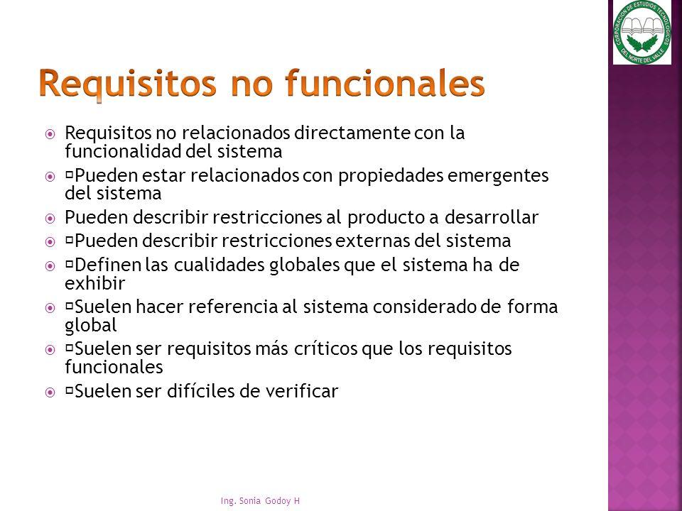 """Requisitos no relacionados directamente con la funcionalidad del sistema """"Pueden estar relacionados con propiedades emergentes del sistema Pueden desc"""