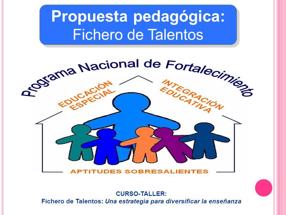 Propuesta pedagógica: Fichero de Talentos Propuesta pedagógica: Fichero de Talentos CURSO-TALLER: Fichero de Talentos: Una estrategia para diversifica