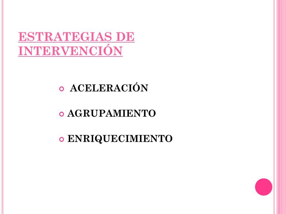 ESTRATEGIAS DE INTERVENCIÓN ACELERACIÓN AGRUPAMIENTO ENRIQUECIMIENTO