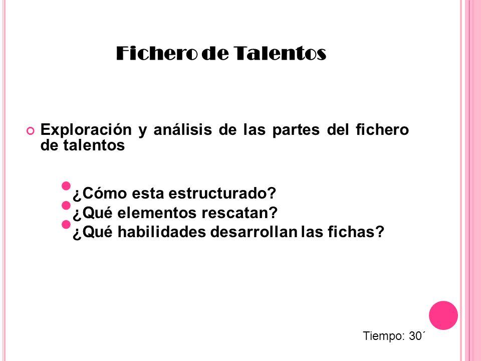 Exploración y análisis de las partes del fichero de talentos Fichero de Talentos ¿Cómo esta estructurado? ¿Qué elementos rescatan? ¿Qué habilidades de