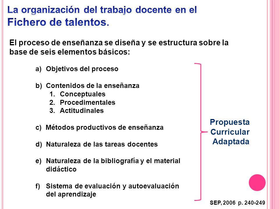 El proceso de enseñanza se diseña y se estructura sobre la base de seis elementos básicos: a)Objetivos del proceso b) Contenidos de la enseñanza 1.Con