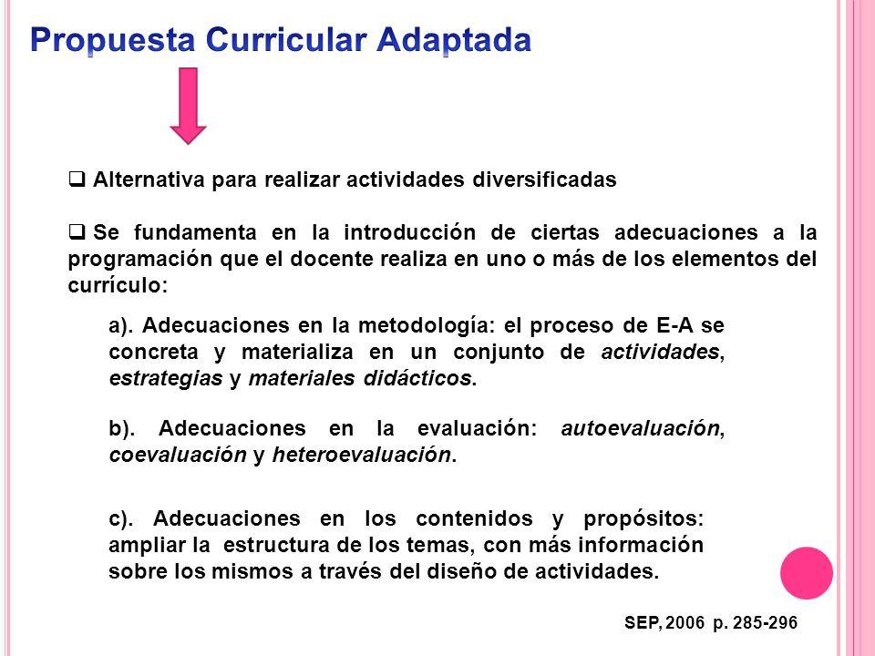 Alternativa para realizar actividades diversificadas Se fundamenta en la introducción de ciertas adecuaciones a la programación que el docente realiza
