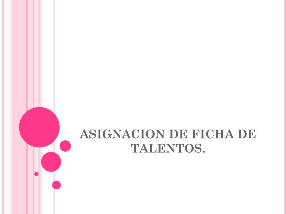 ASIGNACION DE FICHA DE TALENTOS. Tiempo: 40´