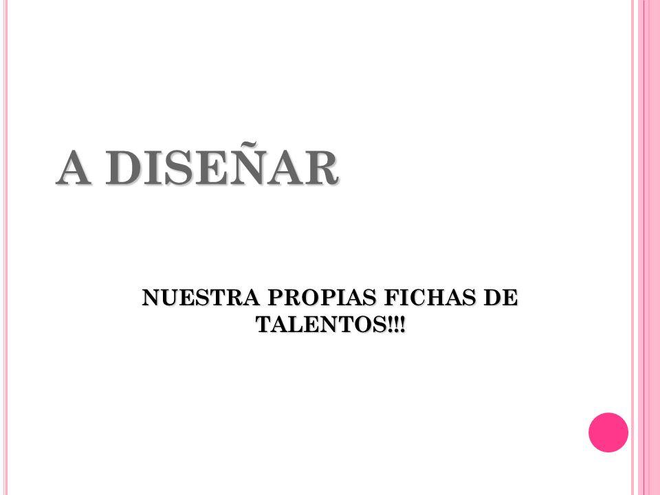 A DISEÑAR NUESTRA PROPIAS FICHAS DE TALENTOS!!!
