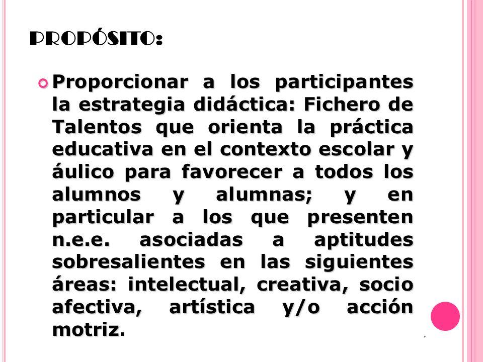 PROPÓSITO: Proporcionar a los participantes la estrategia didáctica: Fichero de Talentos que orienta la práctica educativa en el contexto escolar y áu