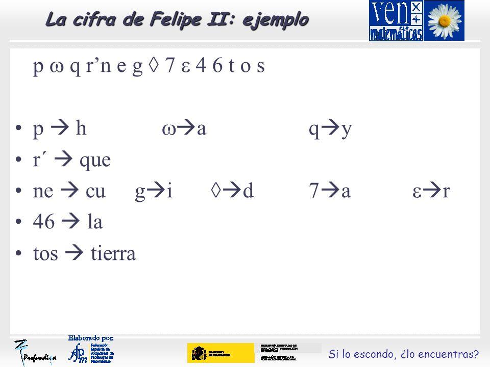 Si lo escondo, ¿lo encuentras? La cifra de Felipe II: ejemplo p q rn e g 7 4 6 t o s p h aq y r´ que ne cu g i d7 a r 46 la tos tierra