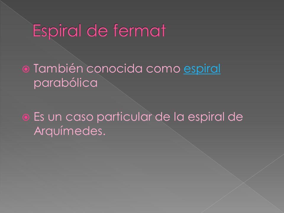También conocida como espiral parabólicaespiral Es un caso particular de la espiral de Arquímedes.