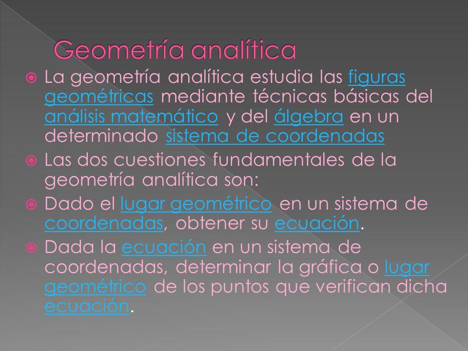 La geometría analítica estudia las figuras geométricas mediante técnicas básicas del análisis matemático y del álgebra en un determinado sistema de co
