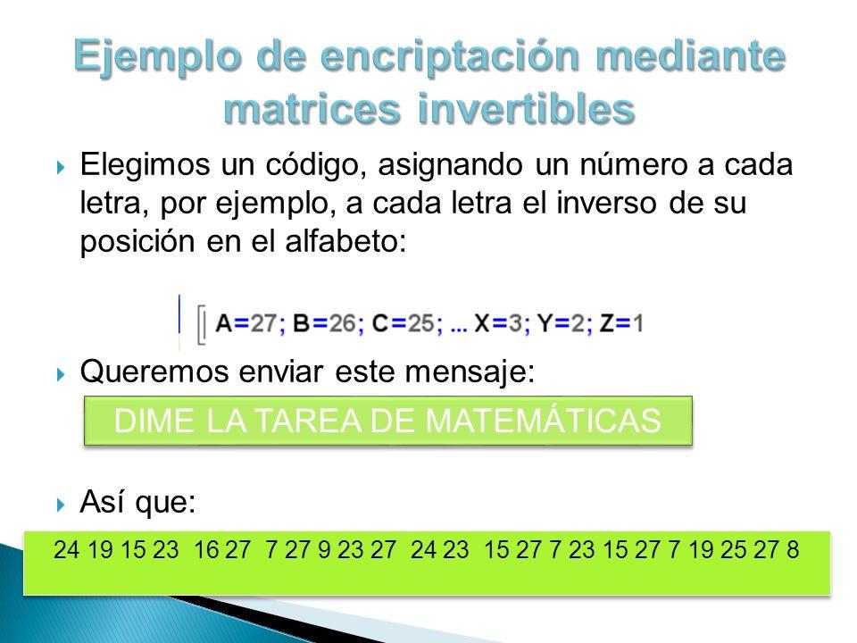 Vamos a codificarlo usando una matriz de 2x2, por ello debemos dividir el mensaje en grupos de 2 letras, así: Ahora elegimos una matriz invertible para codificar y multiplicamos: Matriz de codificación = A = Por lo tanto: Y el código resultante es: 67 43 53 38 …