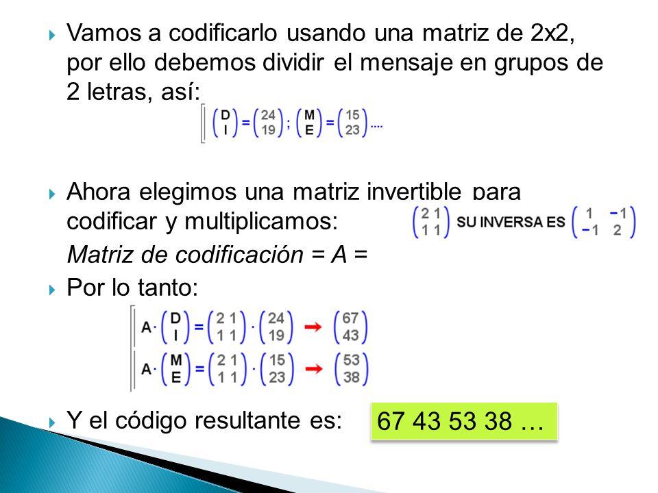 Ahora, el receptor, QUE CONOCE EL CÓDIGO EMPLEADO, utiliza la matriz inversa para descodificar.