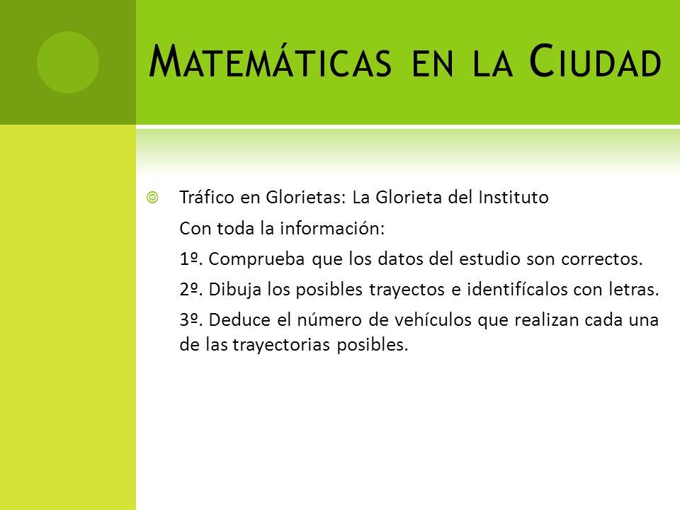 M ATEMÁTICAS EN LA C IUDAD Tráfico en Glorietas: La Glorieta del Instituto Con toda la información: 1º.