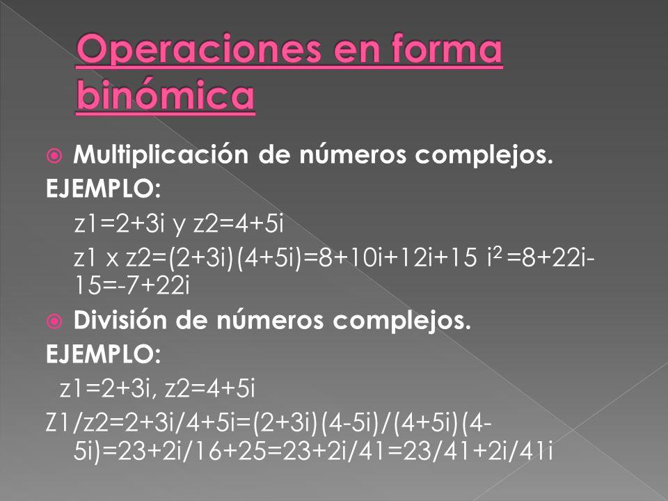 Multiplicación de números complejos.