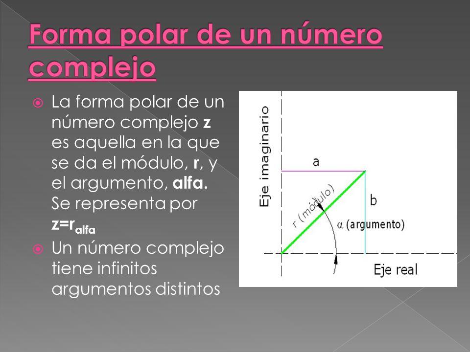 La forma polar de un número complejo z es aquella en la que se da el módulo, r, y el argumento, alfa.