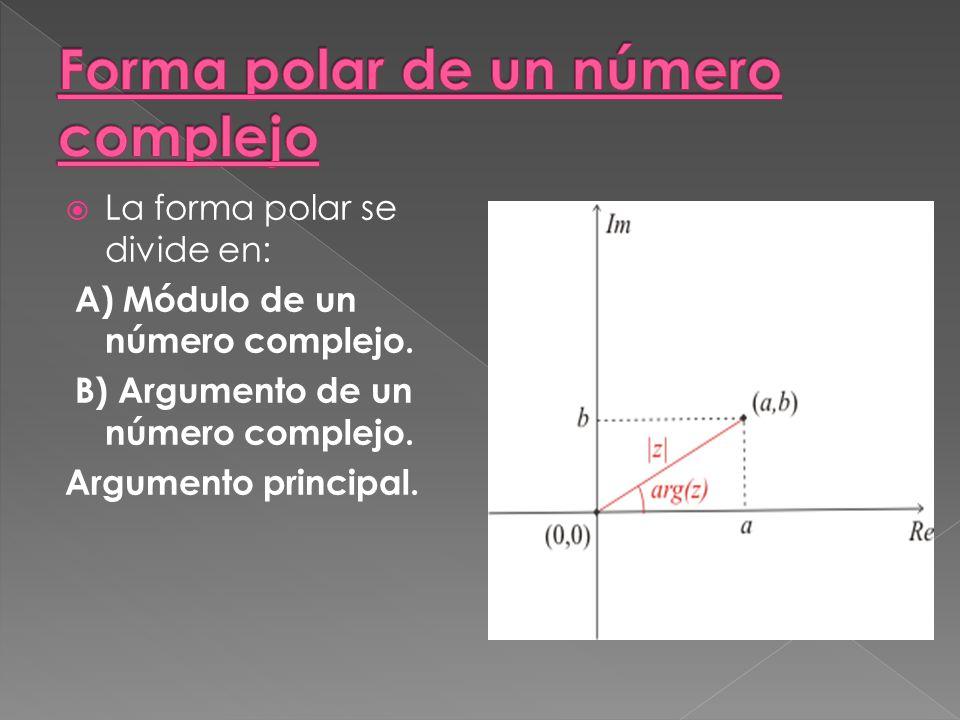 La forma polar se divide en: A) Módulo de un número complejo.