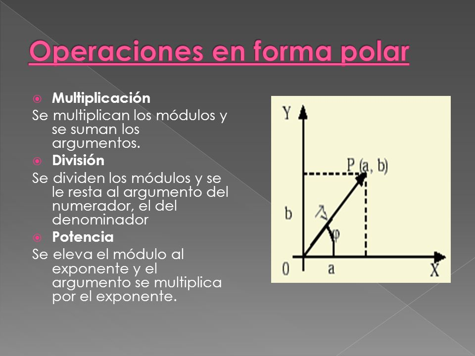 Multiplicación Se multiplican los módulos y se suman los argumentos.