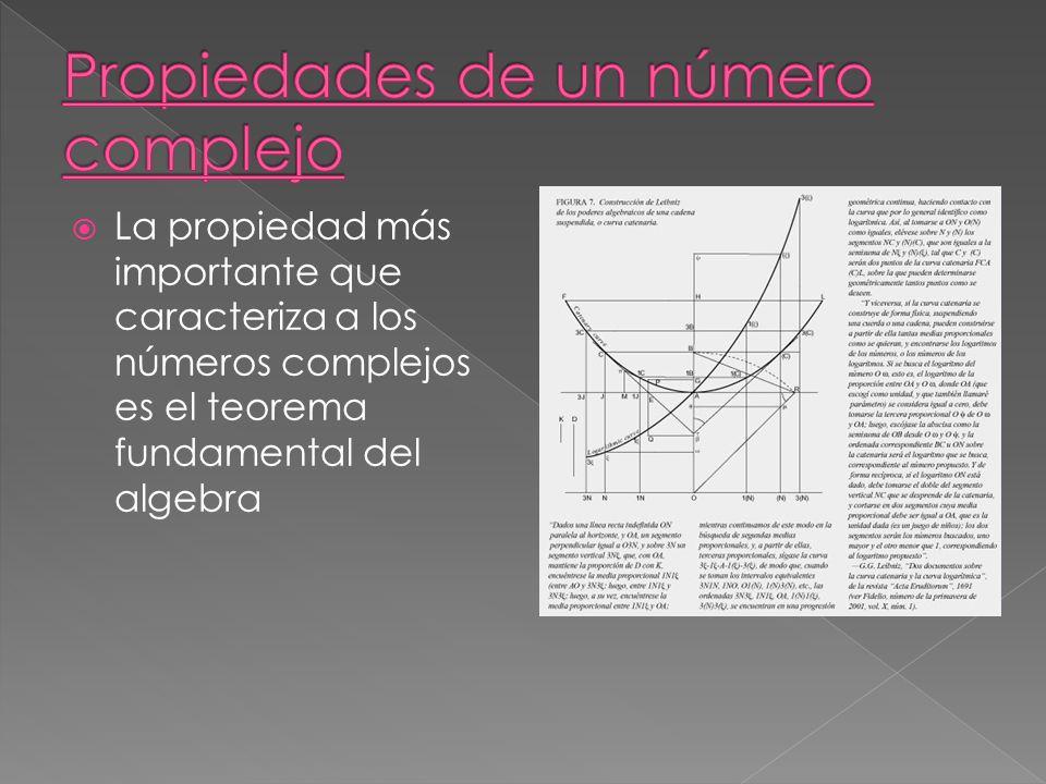 La propiedad más importante que caracteriza a los números complejos es el teorema fundamental del algebra