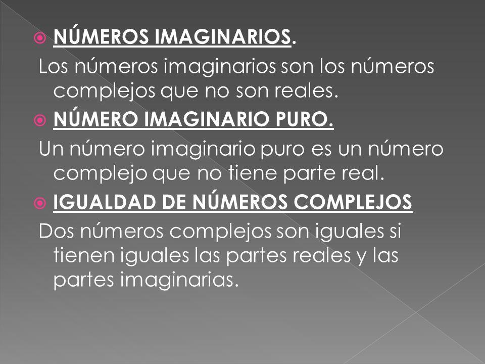 NÚMEROS IMAGINARIOS.Los números imaginarios son los números complejos que no son reales.