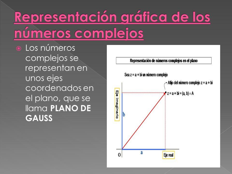 Los números complejos se representan en unos ejes coordenados en el plano, que se llama PLANO DE GAUSS