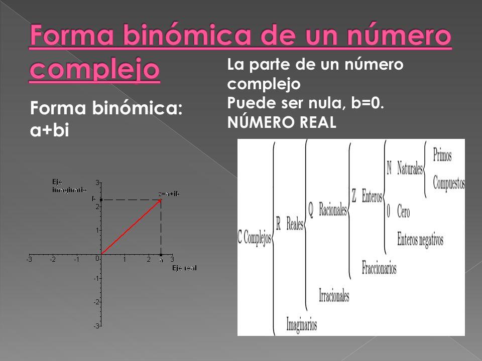 Forma binómica: a+bi La parte de un número complejo Puede ser nula, b=0. NÚMERO REAL