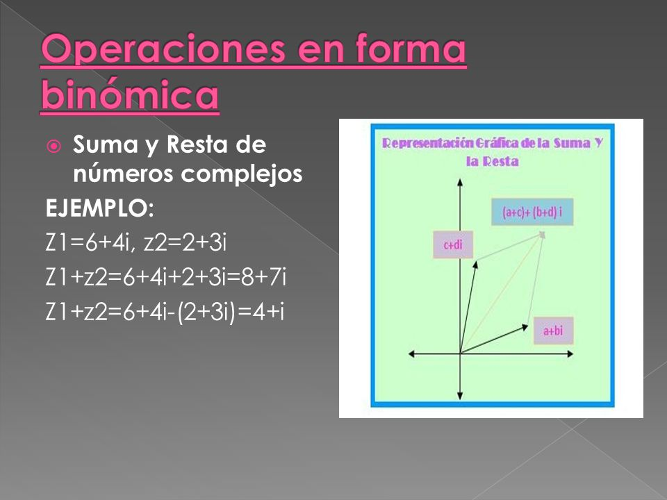 Suma y Resta de números complejos EJEMPLO: Z1=6+4i, z2=2+3i Z1+z2=6+4i+2+3i=8+7i Z1+z2=6+4i-(2+3i)=4+i