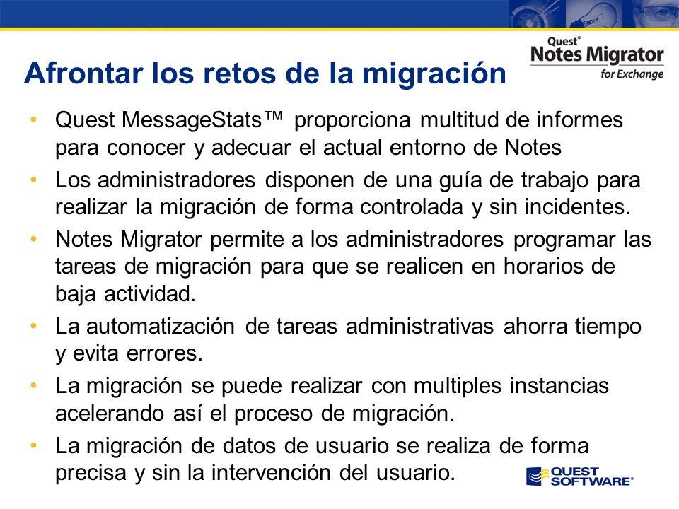 Retos técnicos de la migración Obtención información precisa sobre los datos existentes Conocer el estado de la migración en todo momento Realizar una correcta planificación para evitar incidentes a la organización y los usuarios finales Finalizar la migración en plazos razonables Mantener la integridad de los datos en todo momento