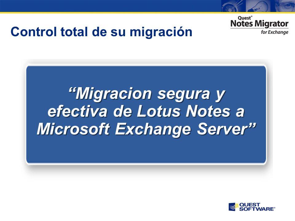 Afrontar los retos de la migración Quest MessageStats proporciona multitud de informes para conocer y adecuar el actual entorno de Notes Los administradores disponen de una guía de trabajo para realizar la migración de forma controlada y sin incidentes.