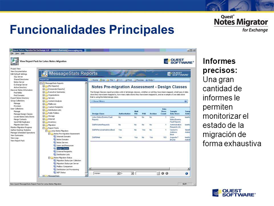 Funcionalidades Principales Gestión de Proyecto: Los administradores tienen un control total del proceso y conocen el estado de la migración minuto a minuto
