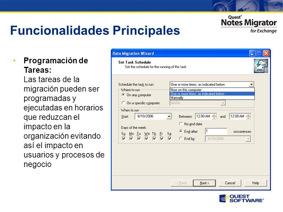 Funcionalidades Principales Informes precisos: Una gran cantidad de informes le permiten monitorizar el estado de la migración de forma exhaustiva