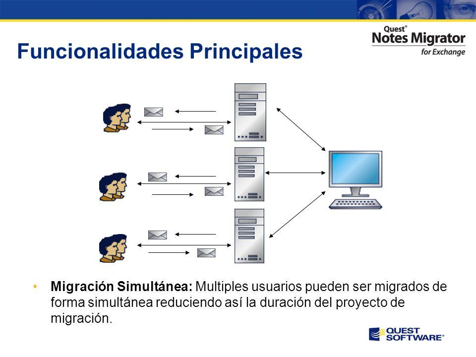 Funcionalidades Principales Programación de Tareas: Las tareas de la migración pueden ser programadas y ejecutadas en horarios que reduzcan el impacto en la organización evitando así el impacto en usuarios y procesos de negocio