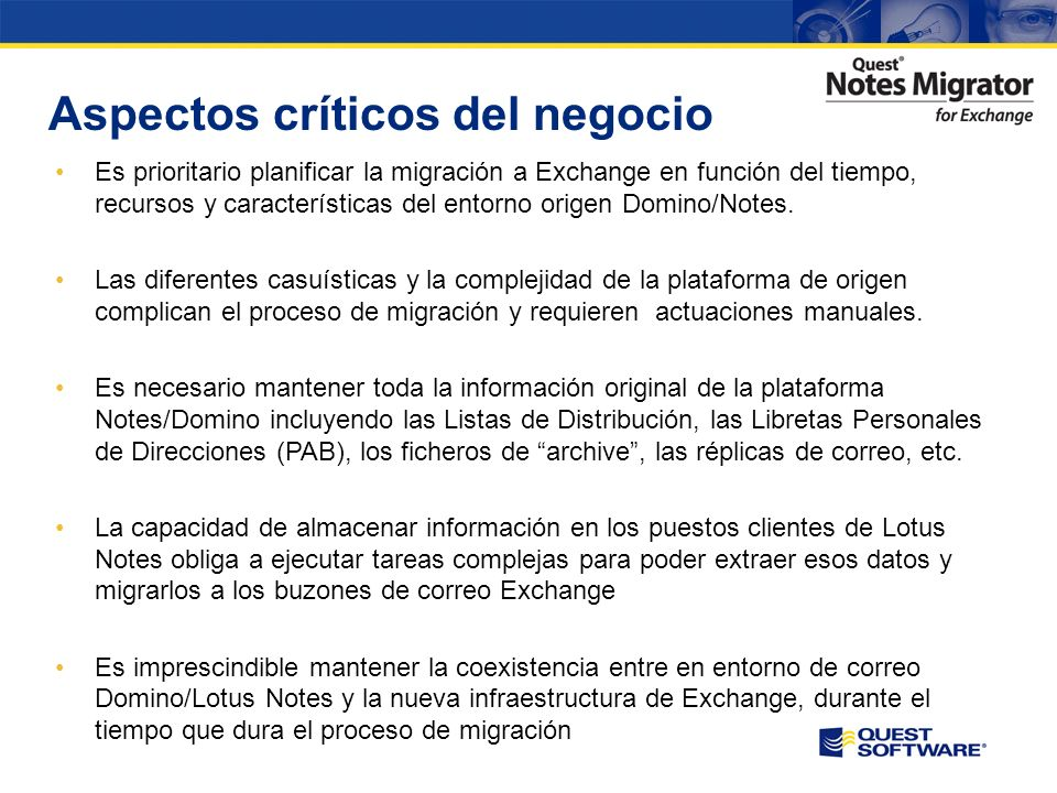 Copyright © 2008 Quest Software Migración de Lotus Notes a Exchange