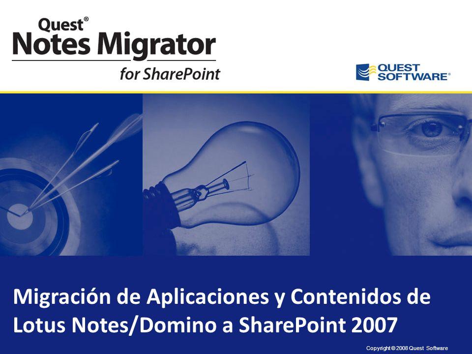 Amplia experiencia en migraciones Quest es lider en migraciones de Notes a Exchange con una media de 65,000 buzones migrados por mes mundialmente. Que
