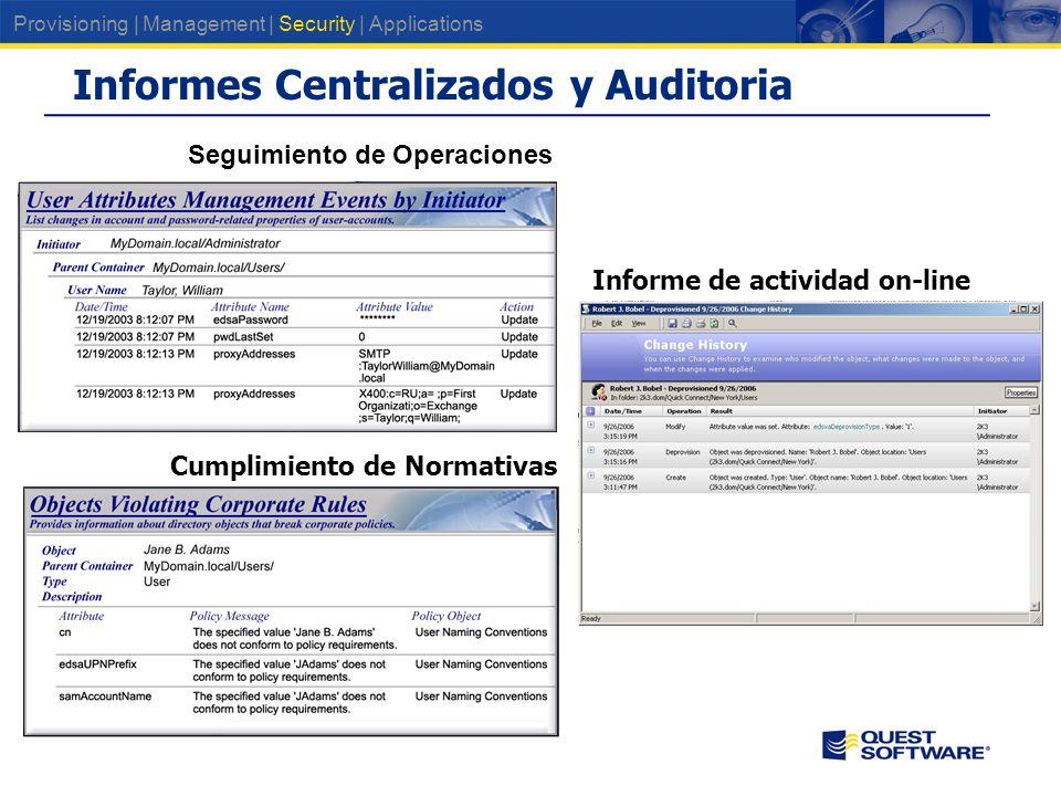 Informes Centralizados y Auditoria Seguimiento de Operaciones Cumplimiento de Normativas Informe de actividad on-line Provisioning | Management | Security | Applications