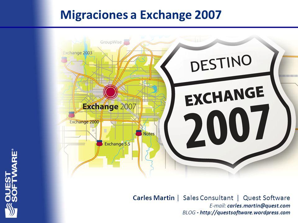 Copyright © 2007 Quest Software Carles Martin | Sales Consultant | Quest Software E-mail: carles.martin@quest.com BLOG - http://questsoftware.wordpress.com Migraciones a Exchange 2007