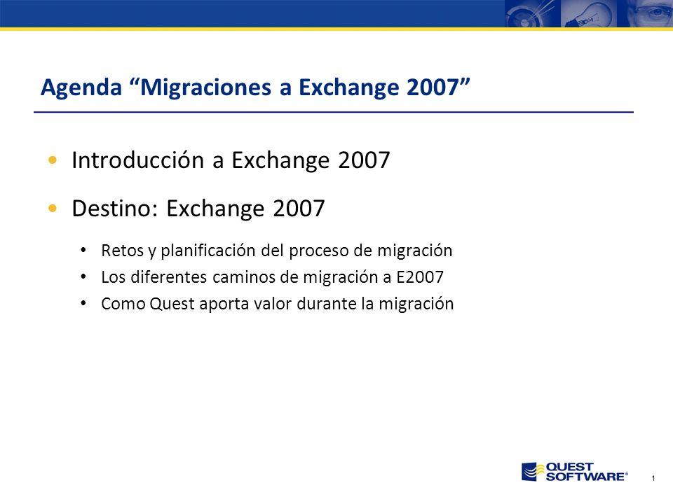 1 Agenda Migraciones a Exchange 2007 Introducción a Exchange 2007 Destino: Exchange 2007 Retos y planificación del proceso de migración Los diferentes caminos de migración a E2007 Como Quest aporta valor durante la migración