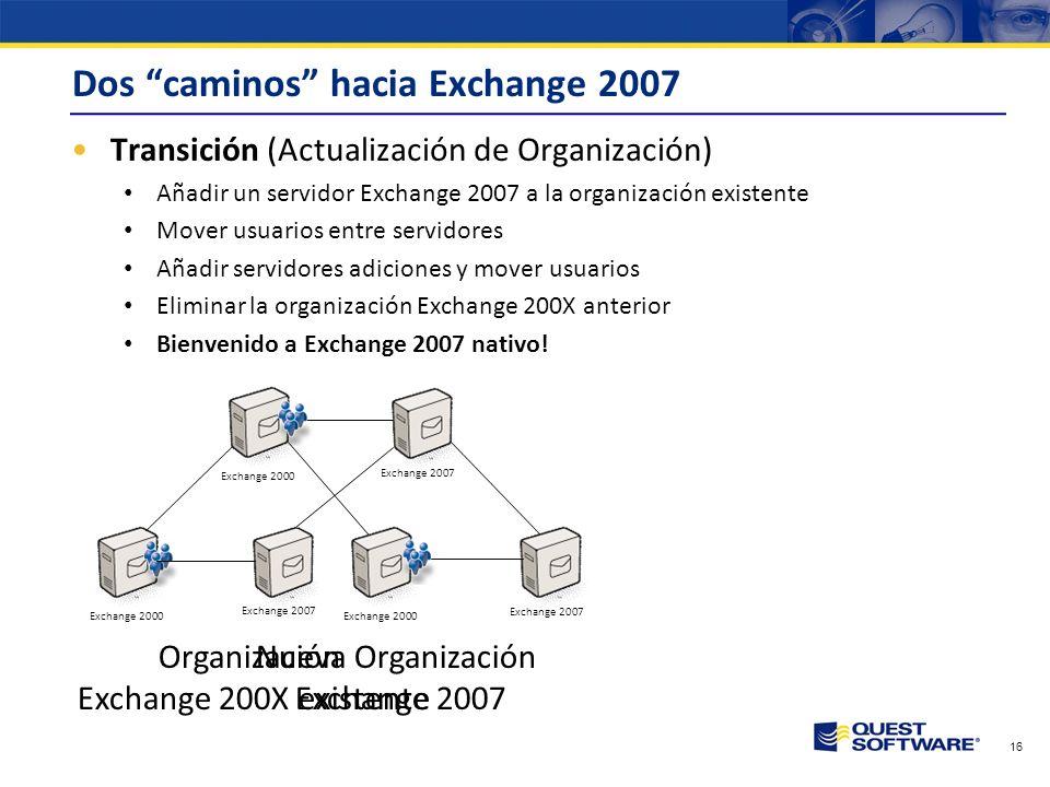 Copyright © 2007 Quest Software Caminos de Migración a E2007