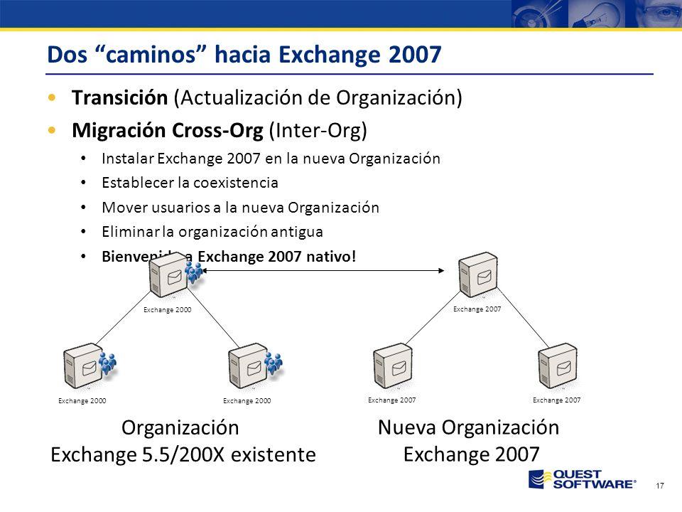 16 Dos caminos hacia Exchange 2007 Transición (Actualización de Organización) Añadir un servidor Exchange 2007 a la organización existente Mover usuar