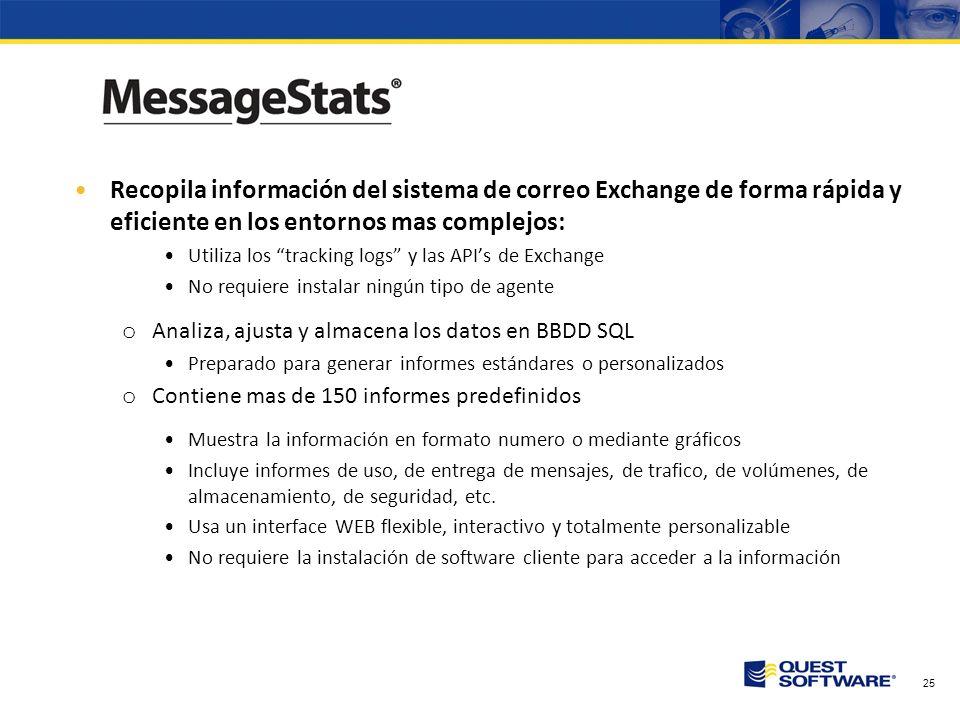 24 Soluciones de Quest que ayudan antes, durante y después de la migración a Exchange 2007 Análisis previo a la migración –MessageStats – Ya disponibl
