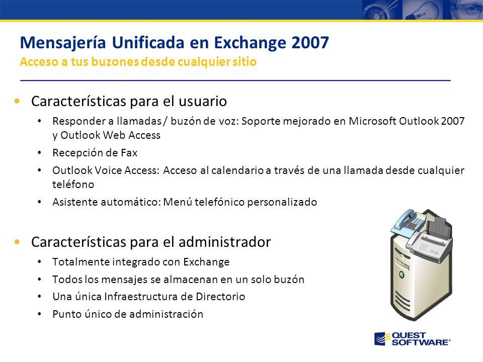 Copyright © 2007 Quest Software Introducción a Exchange 2007