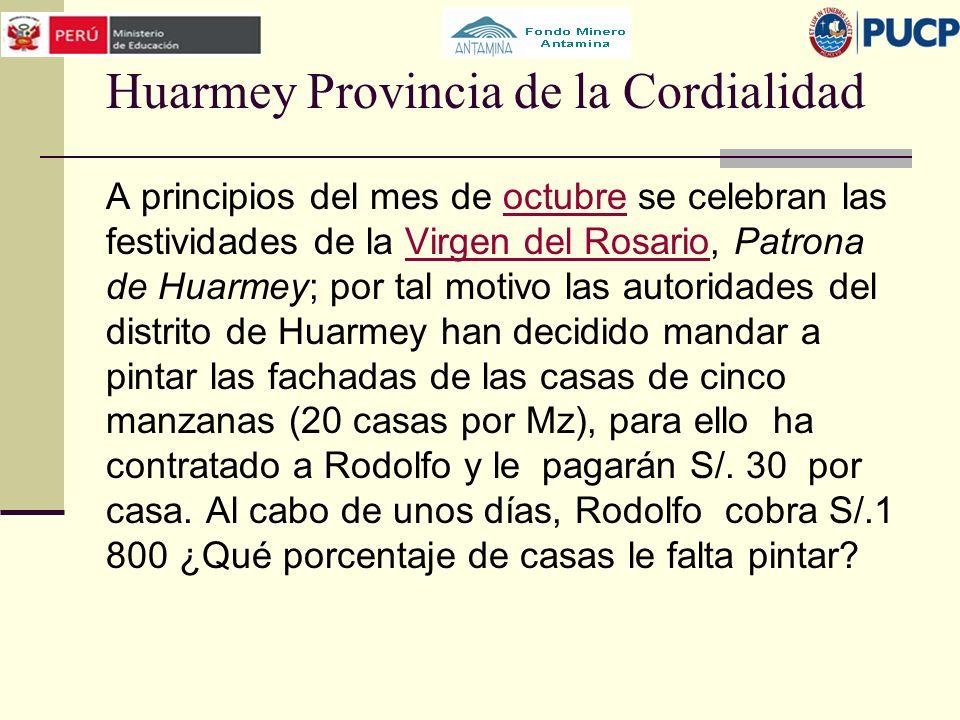 Huarmey Provincia de la Cordialidad A principios del mes de octubre se celebran las festividades de la Virgen del Rosario, Patrona de Huarmey; por tal