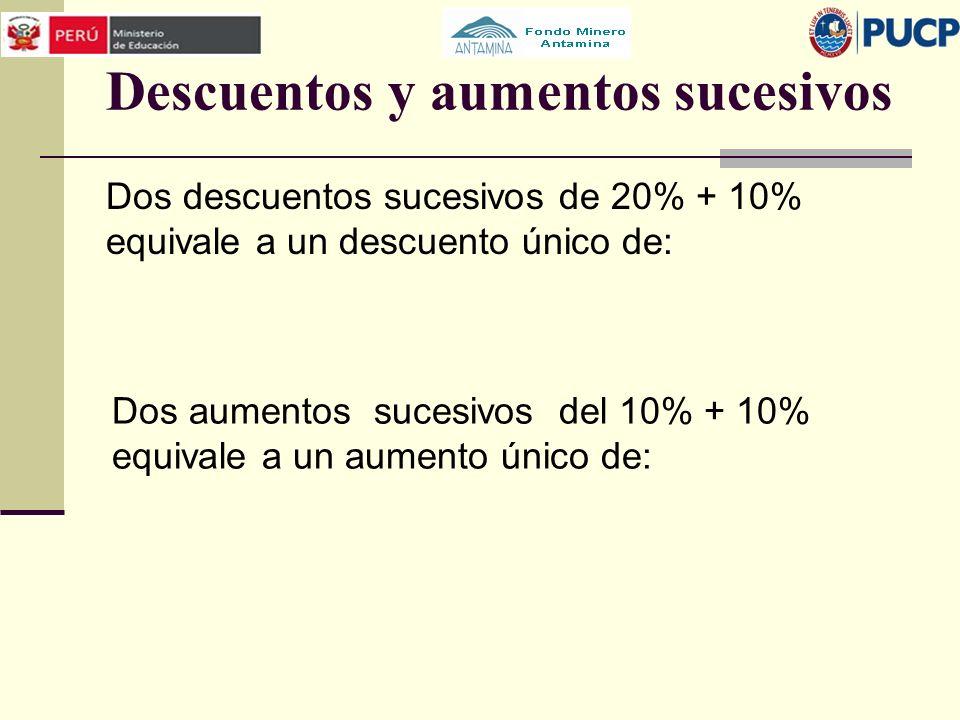 Descuentos y aumentos sucesivos Dos descuentos sucesivos de 20% + 10% equivale a un descuento único de: Dos aumentos sucesivos del 10% + 10% equivale