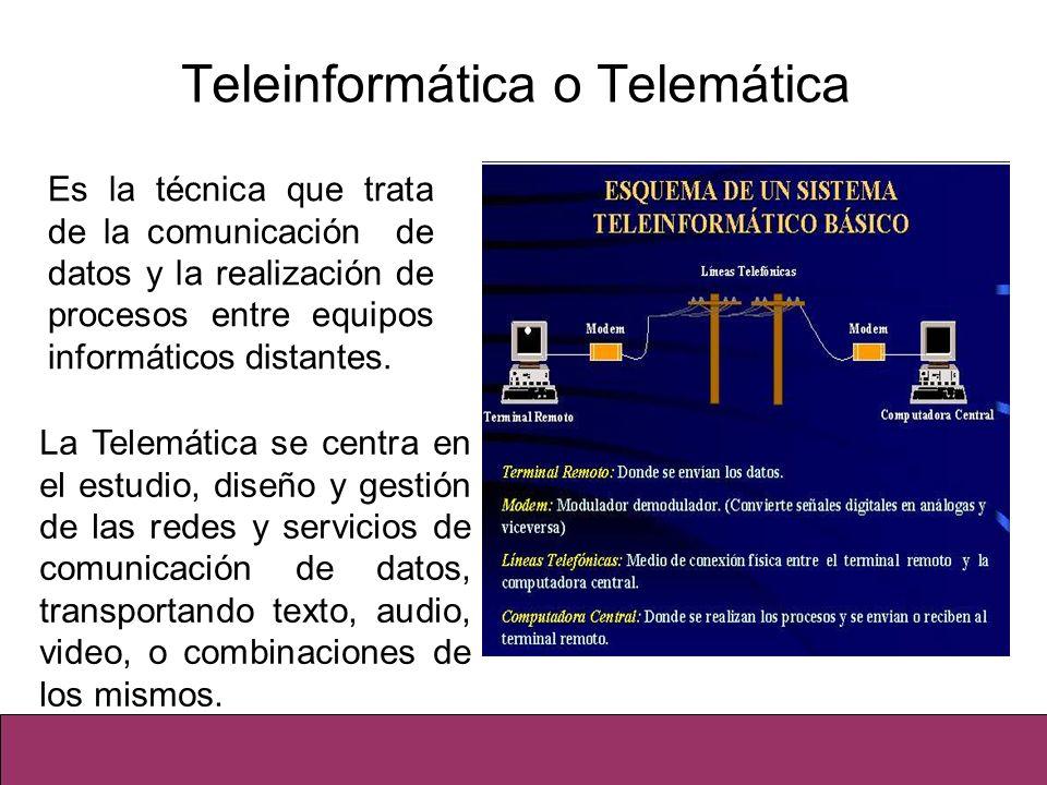 Teleinformática o Telemática Es la técnica que trata de la comunicación de datos y la realización de procesos entre equipos informáticos distantes. La