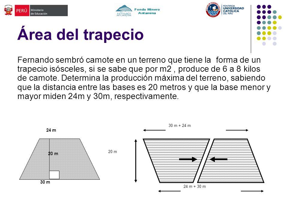 Área del trapecio Fernando sembró camote en un terreno que tiene la forma de un trapecio isósceles, si se sabe que por m2, produce de 6 a 8 kilos de c