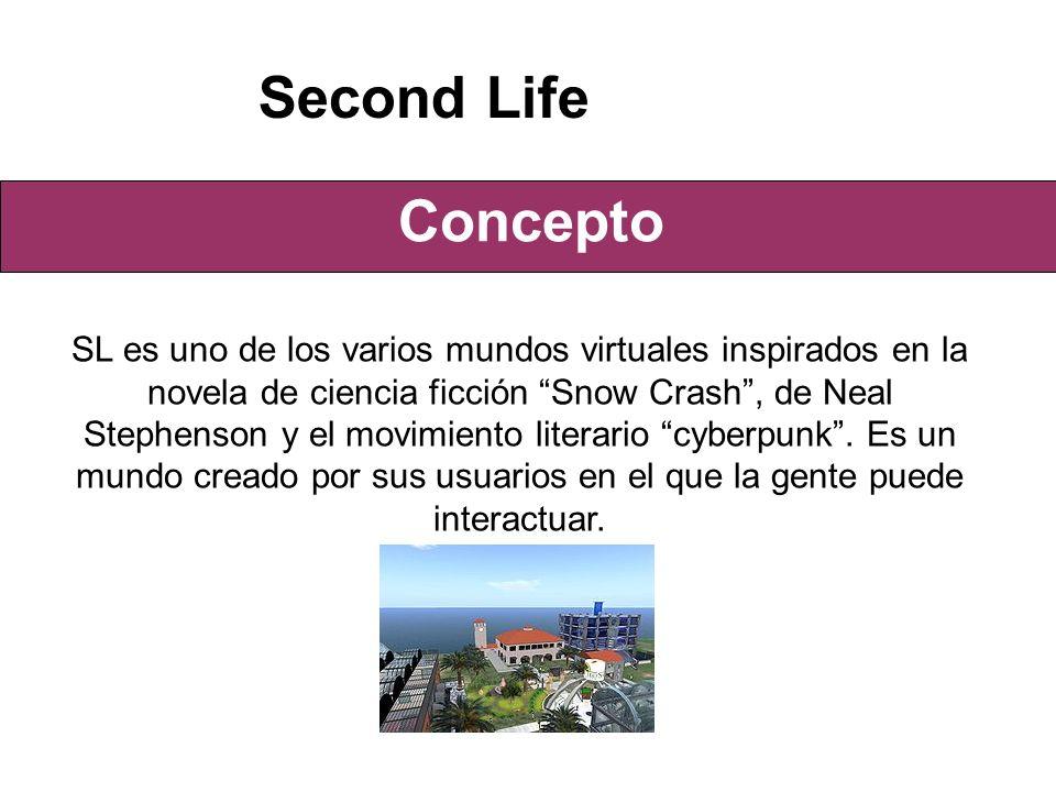 Concepto Second Life SL es uno de los varios mundos virtuales inspirados en la novela de ciencia ficción Snow Crash, de Neal Stephenson y el movimiento literario cyberpunk.