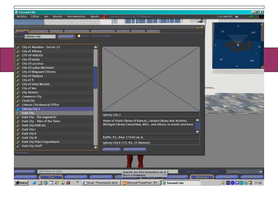 Si pinchamos en la tecla teletranspo, que aparece abajo a la derecha, iremos directamente a ese lugar Second Life Teletransportarse