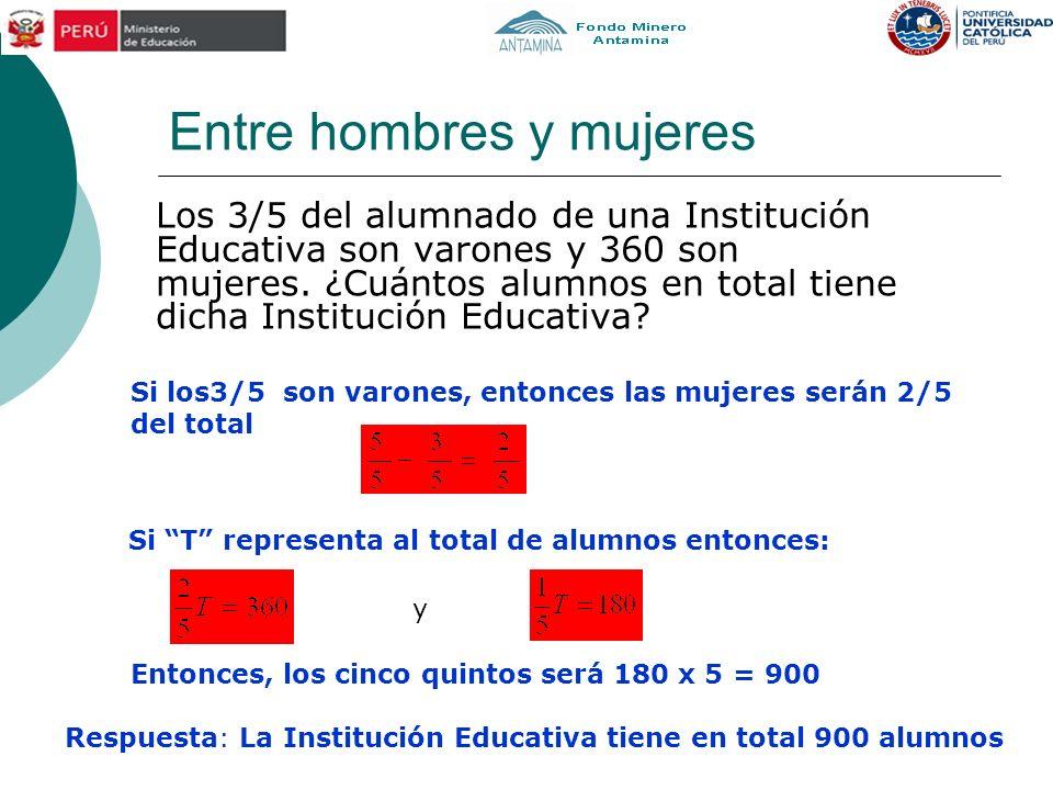 Entre hombres y mujeres Los 3/5 del alumnado de una Institución Educativa son varones y 360 son mujeres. ¿Cuántos alumnos en total tiene dicha Institu
